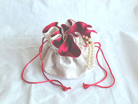 9 Pocket Jewelry Pouch for storage and travel - White Brocade and Satin
