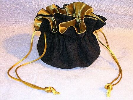 9 Pocket Jewelry Pouch for Storage or Travel - Black with Gold